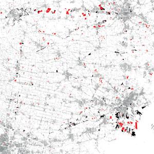 Abbandono, sottoutilizzo, disuso nell'area centrale del Veneto Mappa del Dross dell'area centrale veneta PATREVE (30x30km); in rosso gli spazi abbandonati, in nero gli spazi sottoutilizzati, in grisio la morfologia del costruito. Fonte: osservazione diretta, C. Furlan, Dottorato di Ricerca in Urbanistica, Iuav.